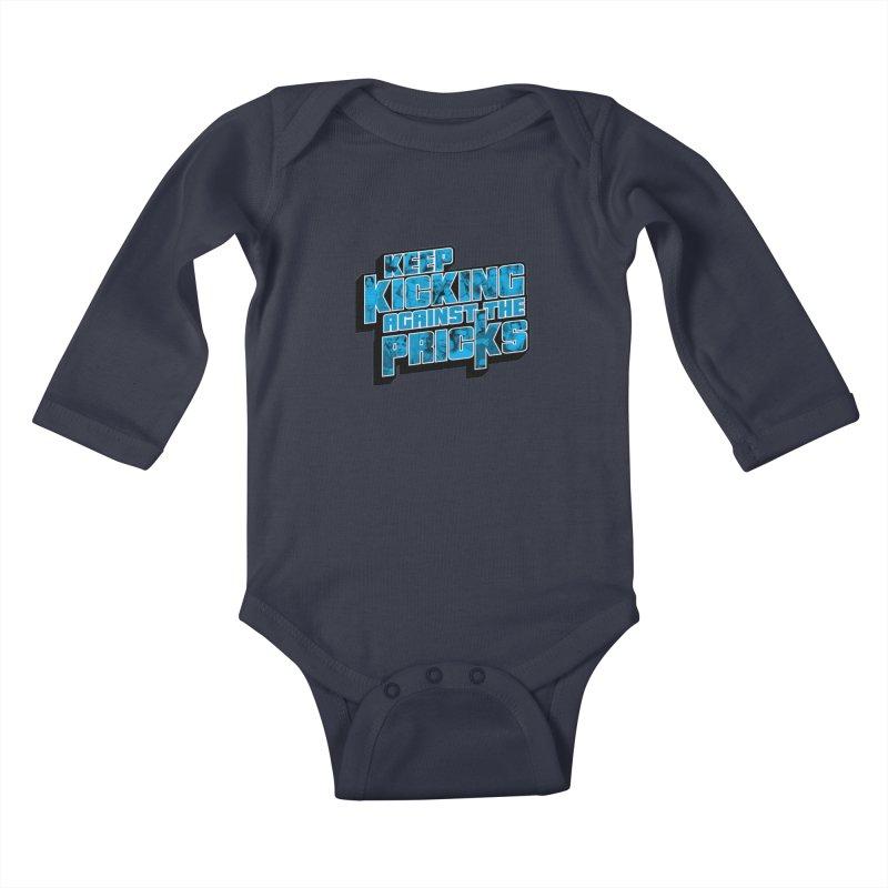 Keep Kicking Against the Pricks (Coloured) Kids Baby Longsleeve Bodysuit by Bloody Murder's Artist Shop