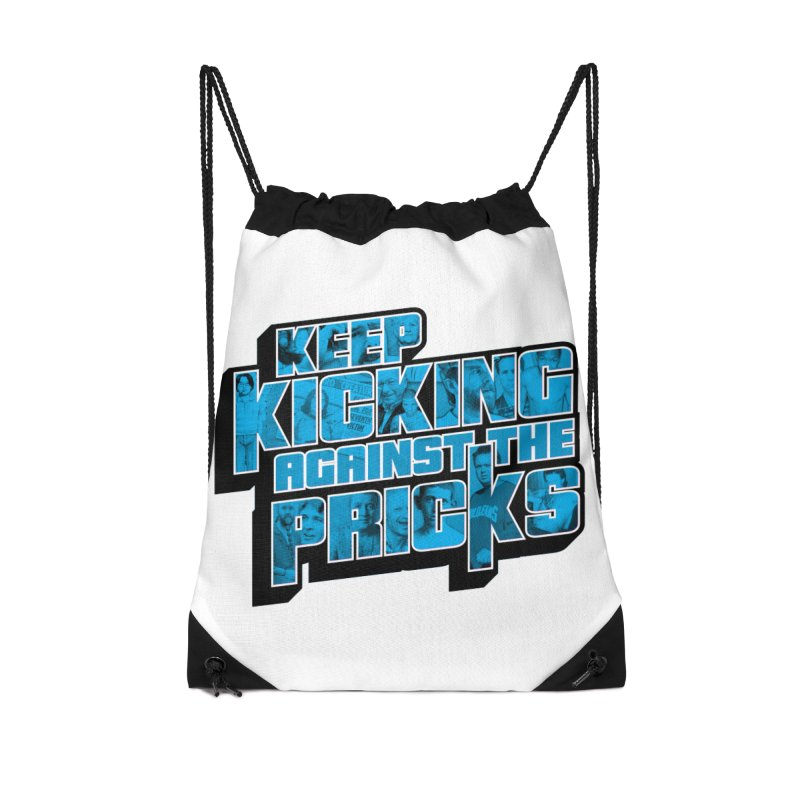 Keep Kicking Against the Pricks (Coloured) Accessories Drawstring Bag Bag by Bloody Murder's Artist Shop