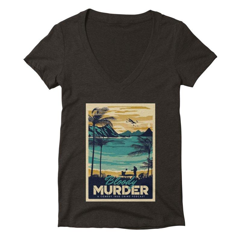 Tropical Travel Women's Deep V-Neck V-Neck by Bloody Murder's Artist Shop