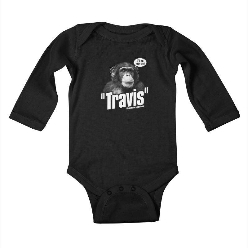 Travis the Chimp Kids Baby Longsleeve Bodysuit by Bloody Murder's Artist Shop