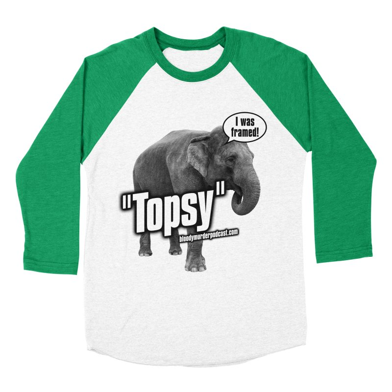 Topsy the Elephant Women's Baseball Triblend Longsleeve T-Shirt by Bloody Murder's Artist Shop