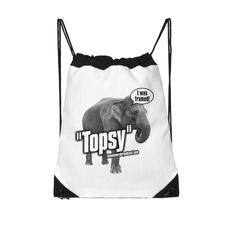 Topsy the Elephant Accessories Drawstring Bag Bag by Bloody Murder's Artist Shop