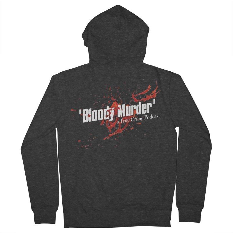 Bloody Murder Bleeding Logo White Men's French Terry Zip-Up Hoody by Bloody Murder's Artist Shop