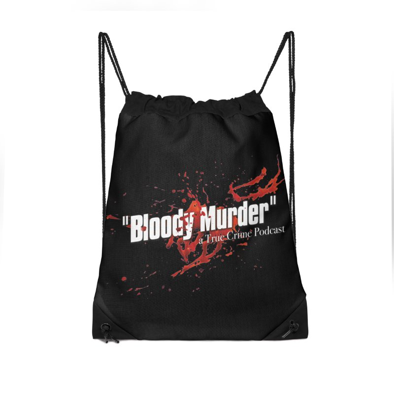 Bloody Murder Bleeding Logo White Accessories Drawstring Bag Bag by Bloody Murder's Artist Shop