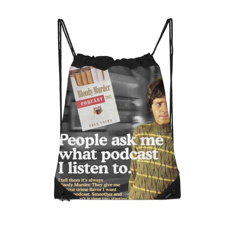 Bloody Murder 1970's Magazine Style Advert Accessories Drawstring Bag Bag by Bloody Murder's Artist Shop