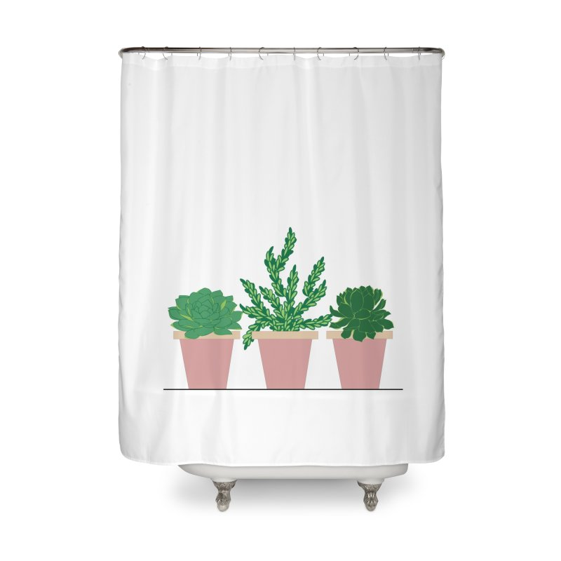 Three Pink Pots Home Shower Curtain by Bloom & Grow Radio Shop