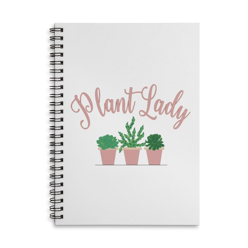 Pink Plant Lady Accessories Lined Spiral Notebook by Bloom & Grow Radio Shop