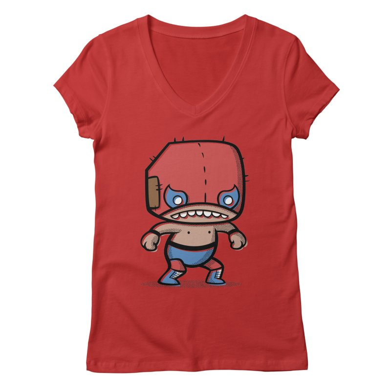 Lucha Libre Women's V-Neck by Bloque Art
