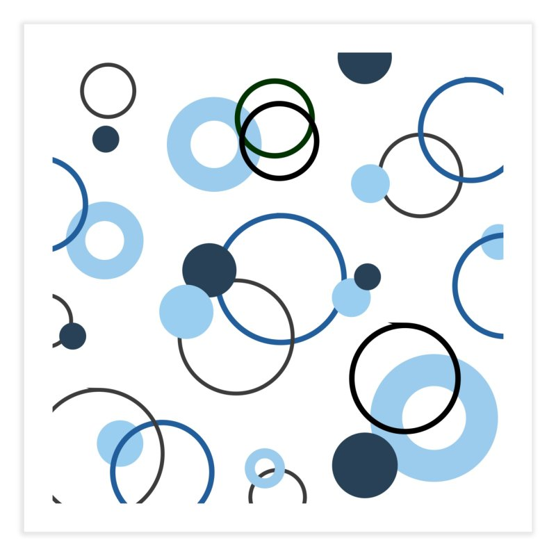 Blue, Navy, Circles, Pattern, Design, Dots, Geometric Home Fine Art Print by BlueBellaDonna