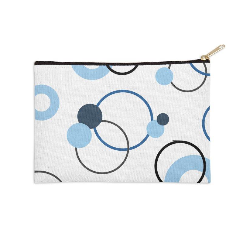 Blue, Navy, Circles, Pattern, Design, Dots, Geometric Accessories Zip Pouch by BlueBellaDonna