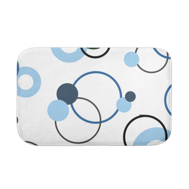 Blue, Navy, Circles, Pattern, Design, Dots, Geometric Home Bath Mat by BlueBellaDonna