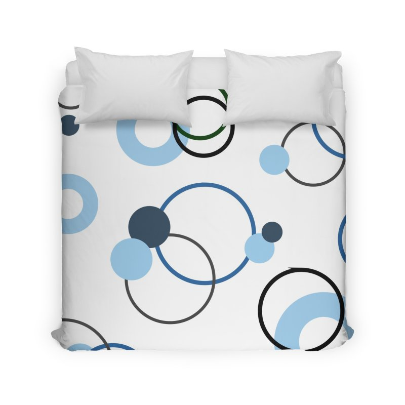 Blue, Navy, Circles, Pattern, Design, Dots, Geometric Home Duvet by BlueBellaDonna