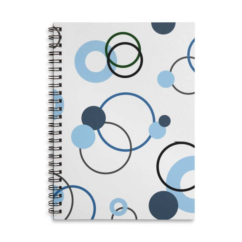 Blue, Navy, Circles, Pattern, Design, Dots, Geometric Accessories Lined Spiral Notebook by BlueBellaDonna