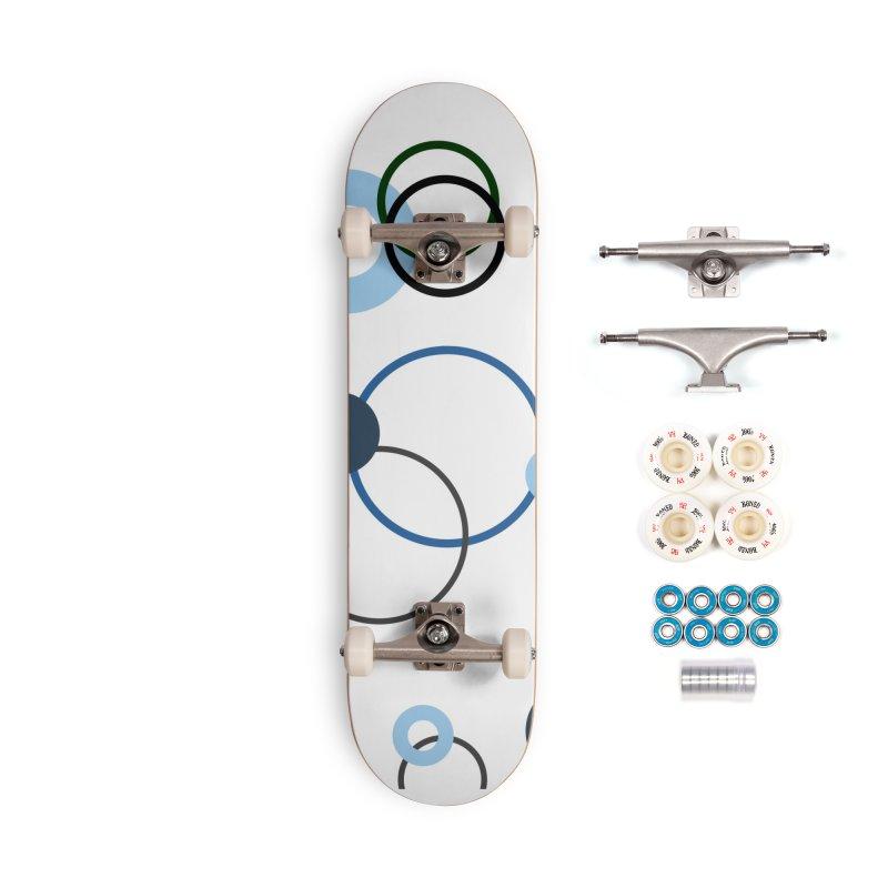 Blue, Navy, Circles, Pattern, Design, Dots, Geometric Accessories Complete - Premium Skateboard by BlueBellaDonna