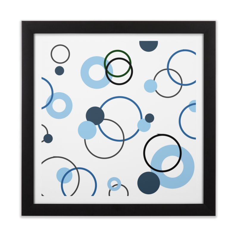 Blue, Navy, Circles, Pattern, Design, Dots, Geometric Home Framed Fine Art Print by BlueBellaDonna