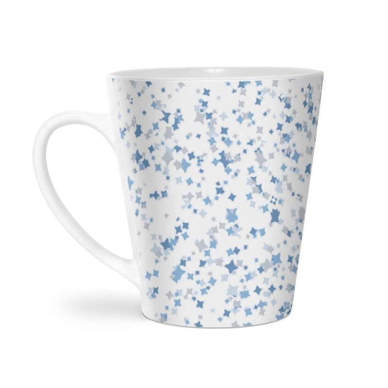 Blue and Gray Confetti, Blue, Grey, Stars, Pattern, Shapes, Geometric, Design Accessories Latte Mug by BlueBellaDonna