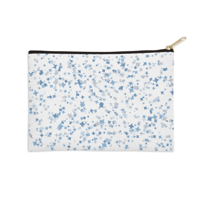 Blue and Gray Confetti, Blue, Grey, Stars, Pattern, Shapes, Geometric, Design Accessories Zip Pouch by BlueBellaDonna