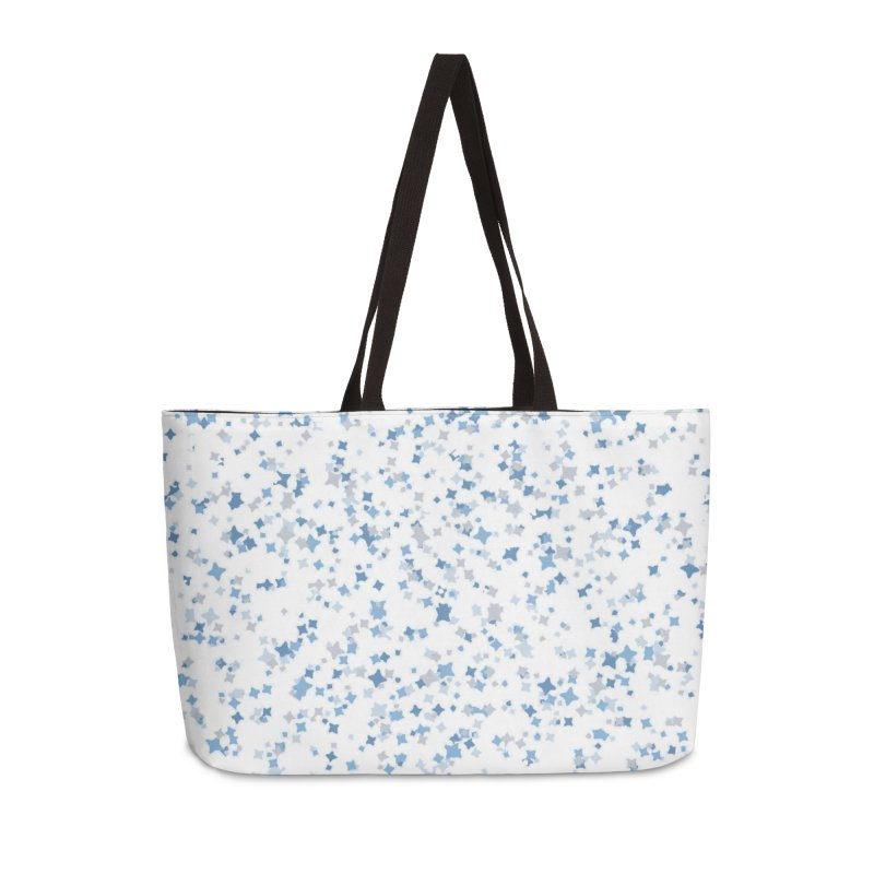 Blue and Gray Confetti, Blue, Grey, Stars, Pattern, Shapes, Geometric, Design Accessories Weekender Bag Bag by BlueBellaDonna