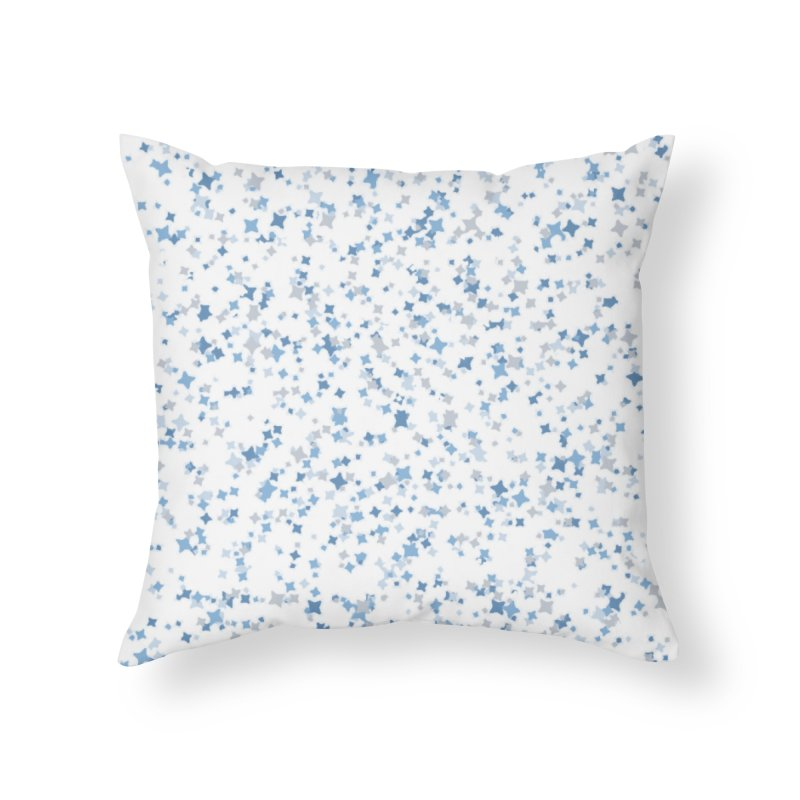 Blue and Gray Confetti, Blue, Grey, Stars, Pattern, Shapes, Geometric, Design Home Throw Pillow by BlueBellaDonna
