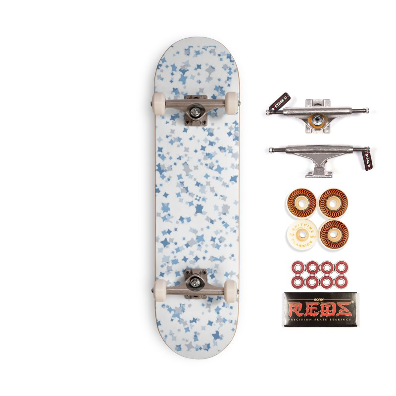 Blue and Gray Confetti, Blue, Grey, Stars, Pattern, Shapes, Geometric, Design Accessories Skateboard by BlueBellaDonna