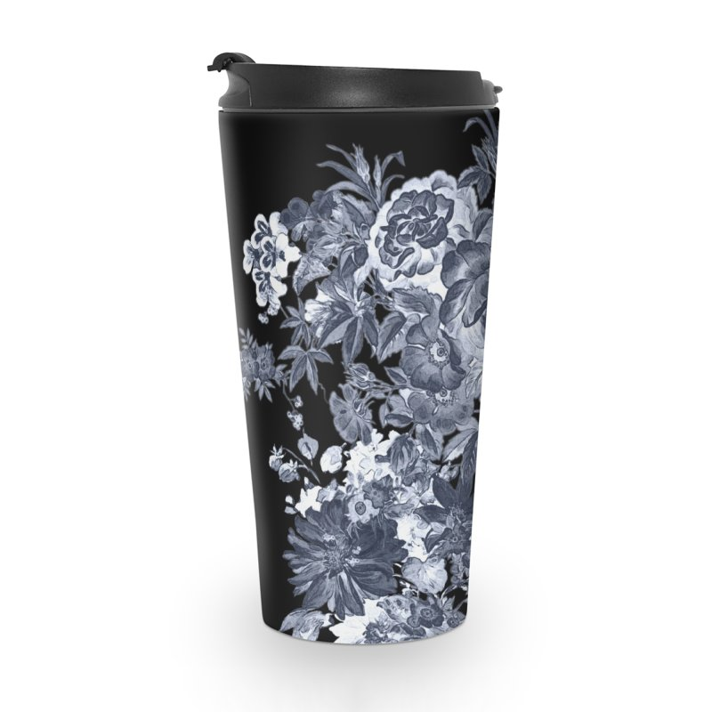Blue Flowers, Victorian Flowers, Gothic, Blue Floral, Black Negative Flowers Accessories Travel Mug by BlueBellaDonna