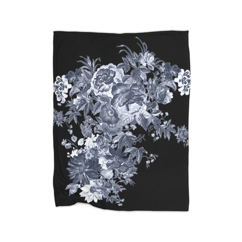 Blue Flowers, Victorian Flowers, Gothic, Blue Floral, Black Negative Flowers Home Blanket by BlueBellaDonna