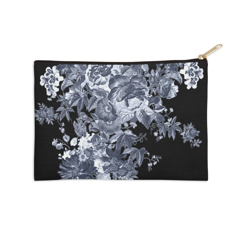 Blue Flowers, Victorian Flowers, Gothic, Blue Floral, Black Negative Flowers Accessories Zip Pouch by BlueBellaDonna