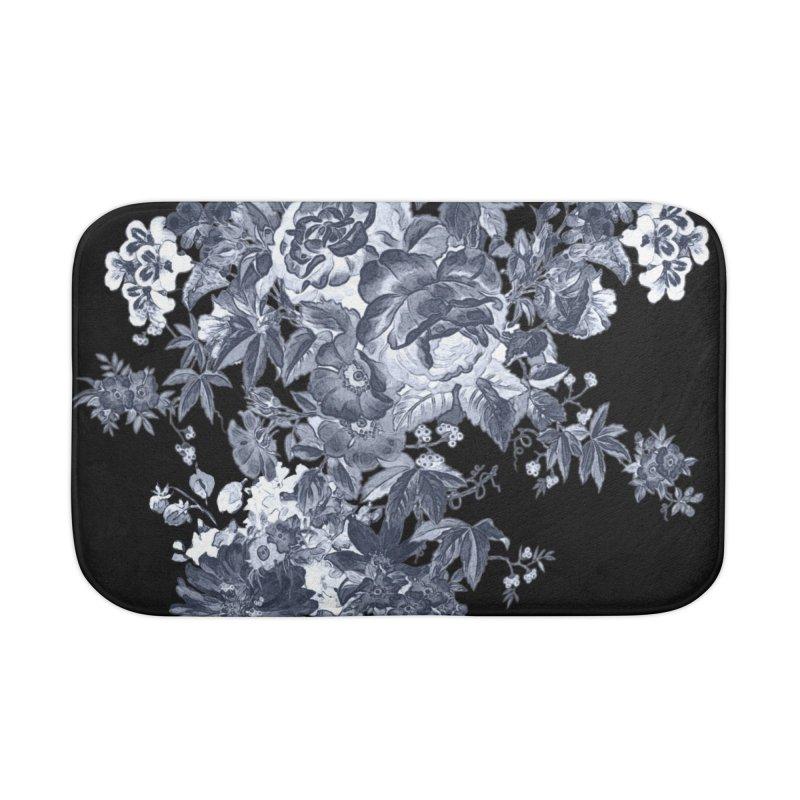 Blue Flowers, Victorian Flowers, Gothic, Blue Floral, Black Negative Flowers Home Bath Mat by BlueBellaDonna