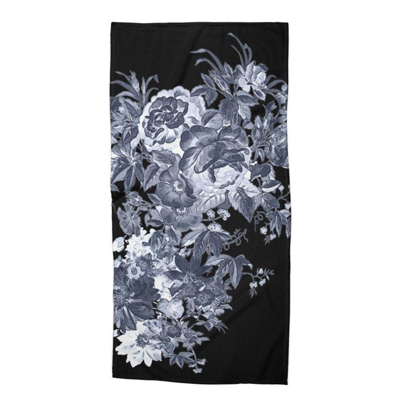 Blue Flowers, Victorian Flowers, Gothic, Blue Floral, Black Negative Flowers Accessories Beach Towel by BlueBellaDonna