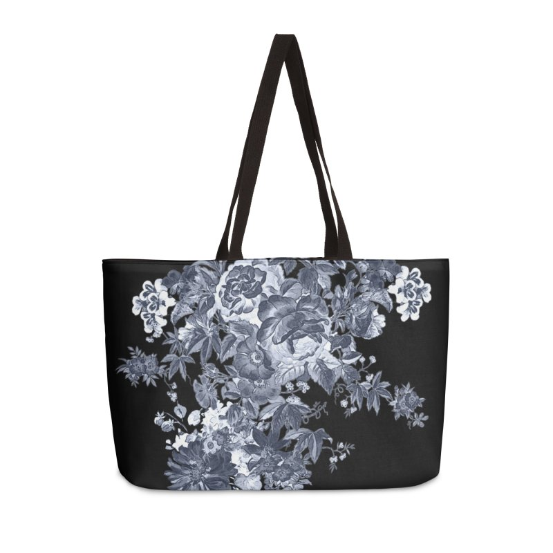 Blue Flowers, Victorian Flowers, Gothic, Blue Floral, Black Negative Flowers Accessories Weekender Bag Bag by BlueBellaDonna