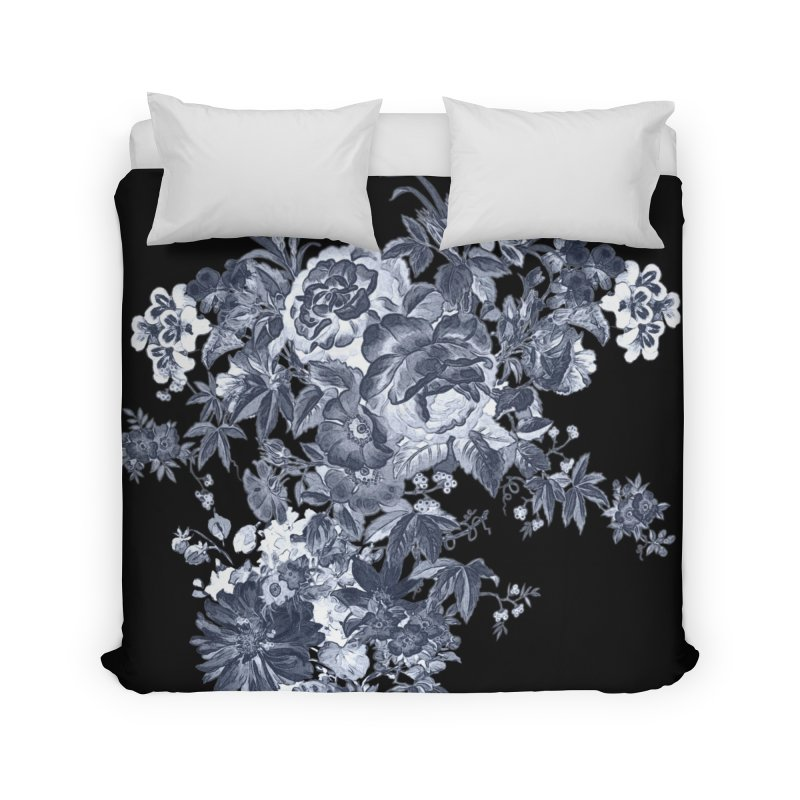 Blue Flowers, Victorian Flowers, Gothic, Blue Floral, Black Negative Flowers Home Duvet by BlueBellaDonna