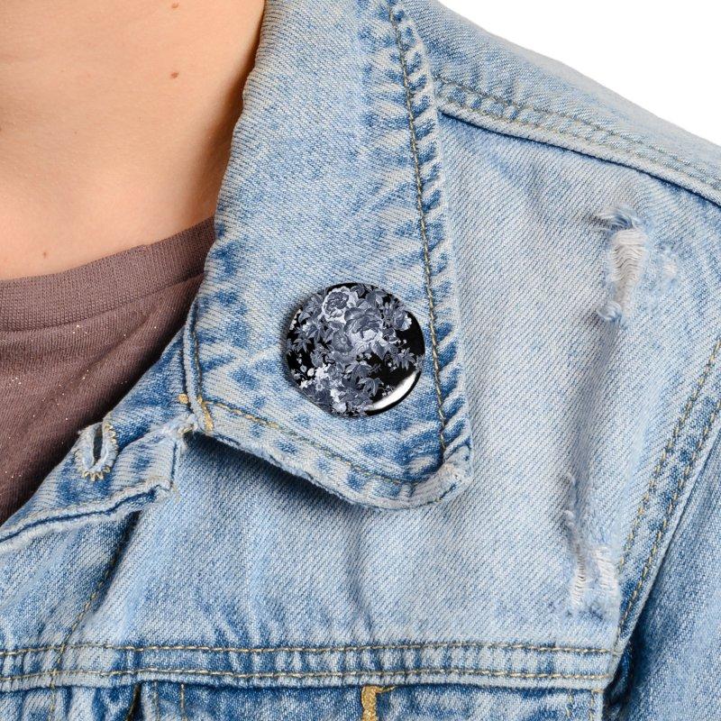 Blue Flowers, Victorian Flowers, Gothic, Blue Floral, Black Negative Flowers Accessories Button by BlueBellaDonna