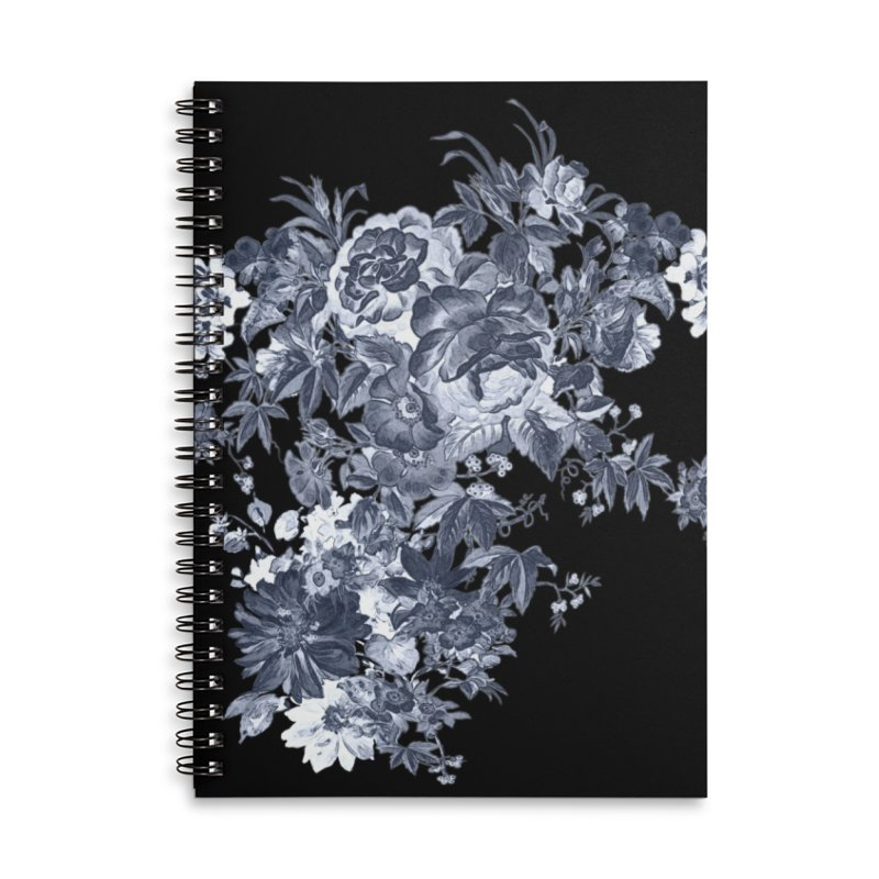 Blue Flowers, Victorian Flowers, Gothic, Blue Floral, Black Negative Flowers Accessories Lined Spiral Notebook by BlueBellaDonna