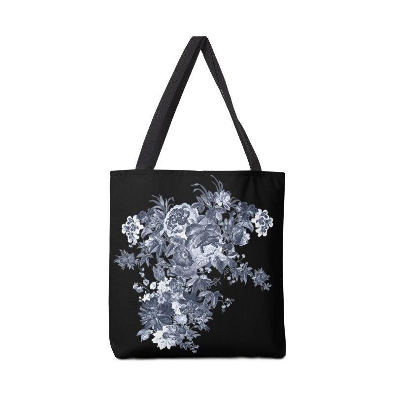 Blue Flowers, Victorian Flowers, Gothic, Blue Floral, Black Negative Flowers Accessories Bag by BlueBellaDonna