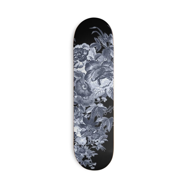 Blue Flowers, Victorian Flowers, Gothic, Blue Floral, Black Negative Flowers Accessories Skateboard by BlueBellaDonna