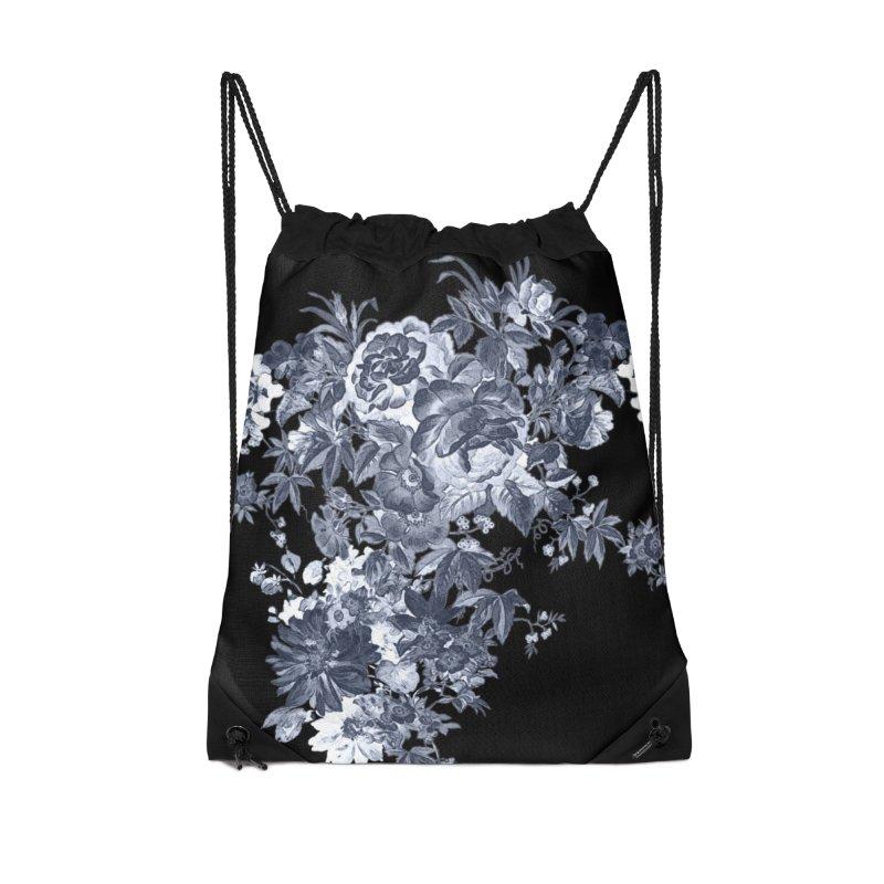 Blue Flowers, Victorian Flowers, Gothic, Blue Floral, Black Negative Flowers Accessories Drawstring Bag Bag by BlueBellaDonna