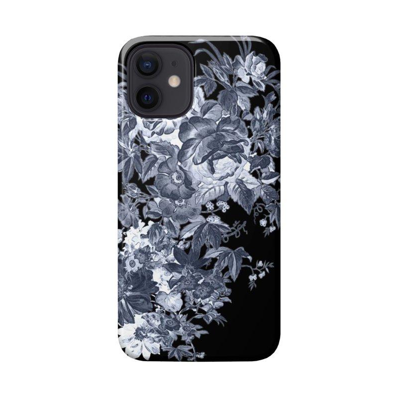 Blue Flowers, Victorian Flowers, Gothic, Blue Floral, Black Negative Flowers Accessories Phone Case by BlueBellaDonna