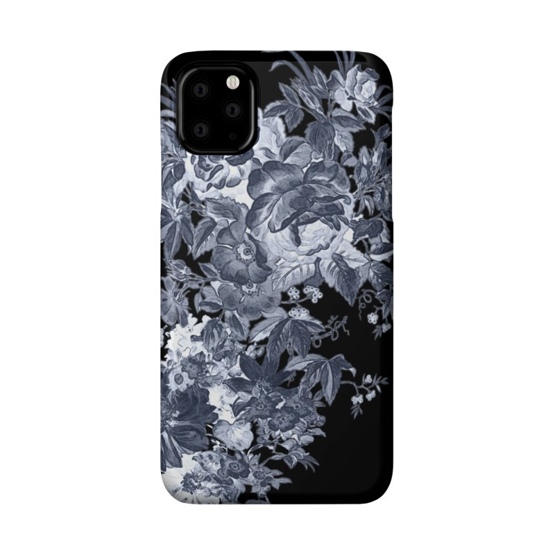Blue Flowers, Victorian Flowers, Gothic, Blue Floral, Black Negative Flowers Accessories Phone Case by BlueBellaDonna