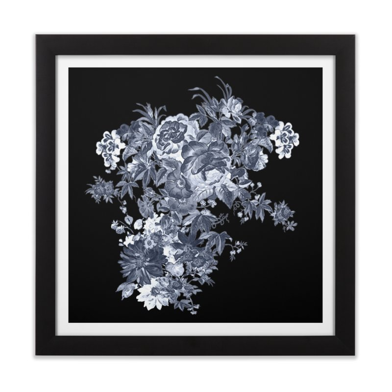 Blue Flowers, Victorian Flowers, Gothic, Blue Floral, Black Negative Flowers Home Framed Fine Art Print by BlueBellaDonna