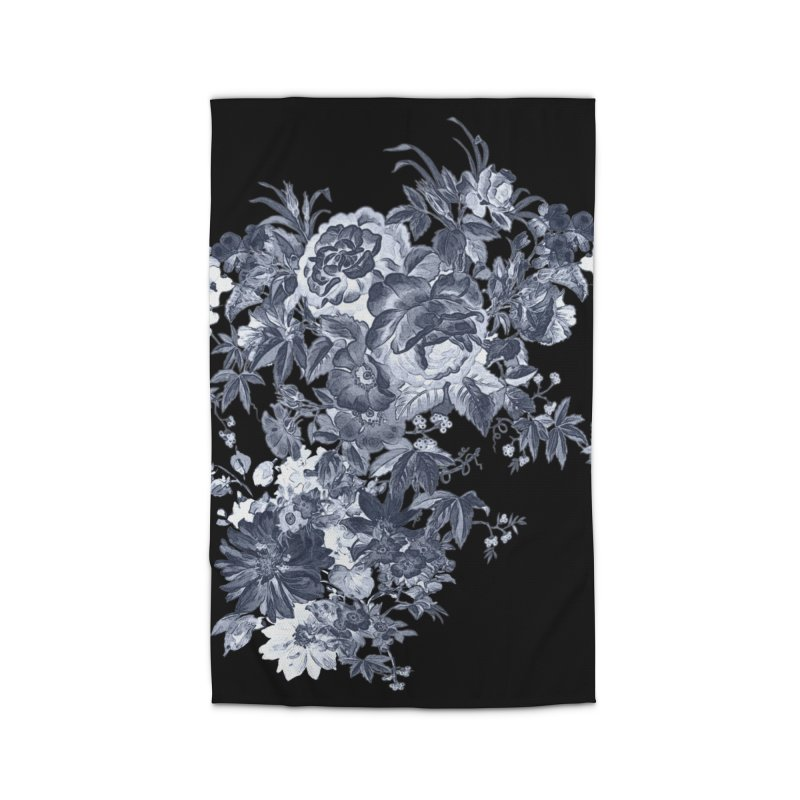 Blue Flowers, Victorian Flowers, Gothic, Blue Floral, Black Negative Flowers Home Rug by BlueBellaDonna