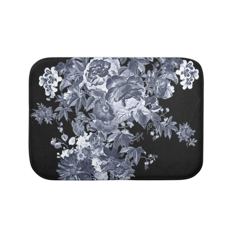 Blue Flowers, Victorian Flowers, Gothic, Blue Floral, Black Negative Flowers Home Bath Mat by BlueBellaDonna