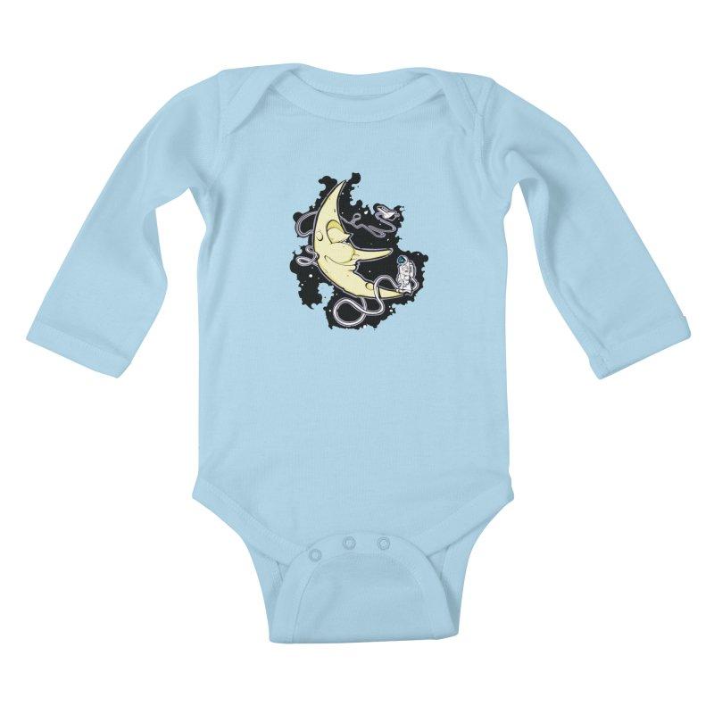 Fly me to tee moon Kids Baby Longsleeve Bodysuit by bluesdog's Shop