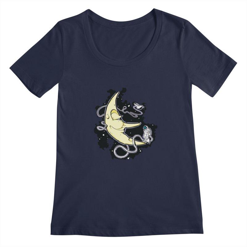 Fly me to tee moon Women's Regular Scoop Neck by bluesdog's Shop