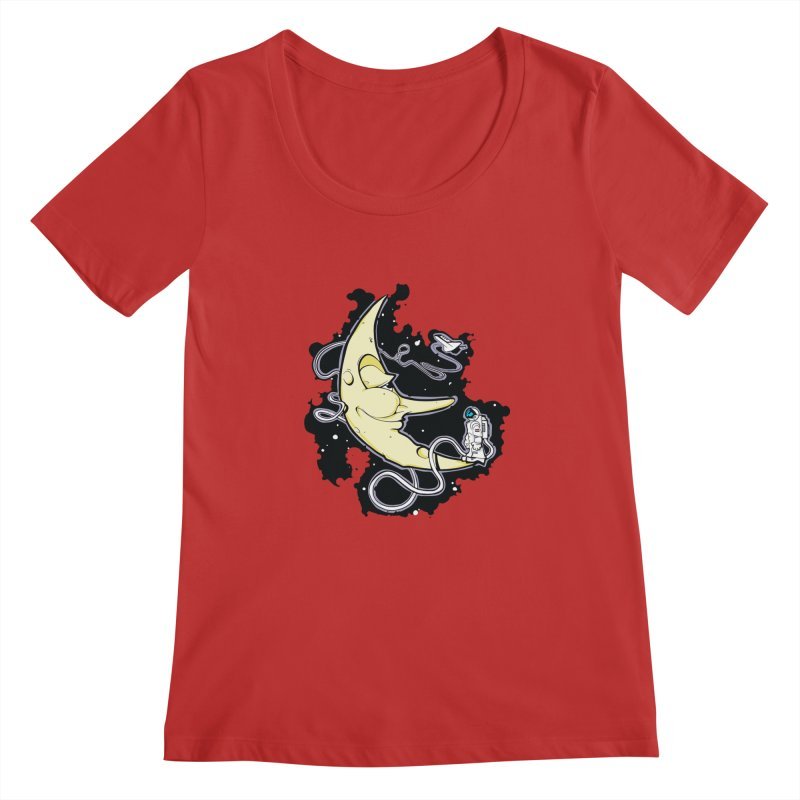 Fly me to tee moon Women's Scoopneck by bluesdog's Shop