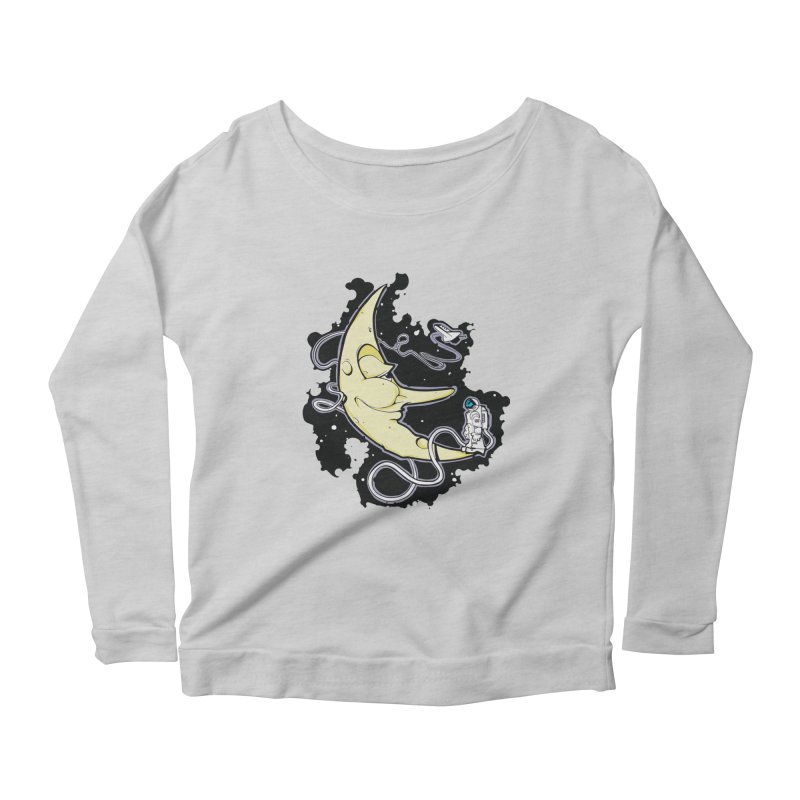 Fly me to tee moon Women's Longsleeve Scoopneck  by bluesdog's Shop