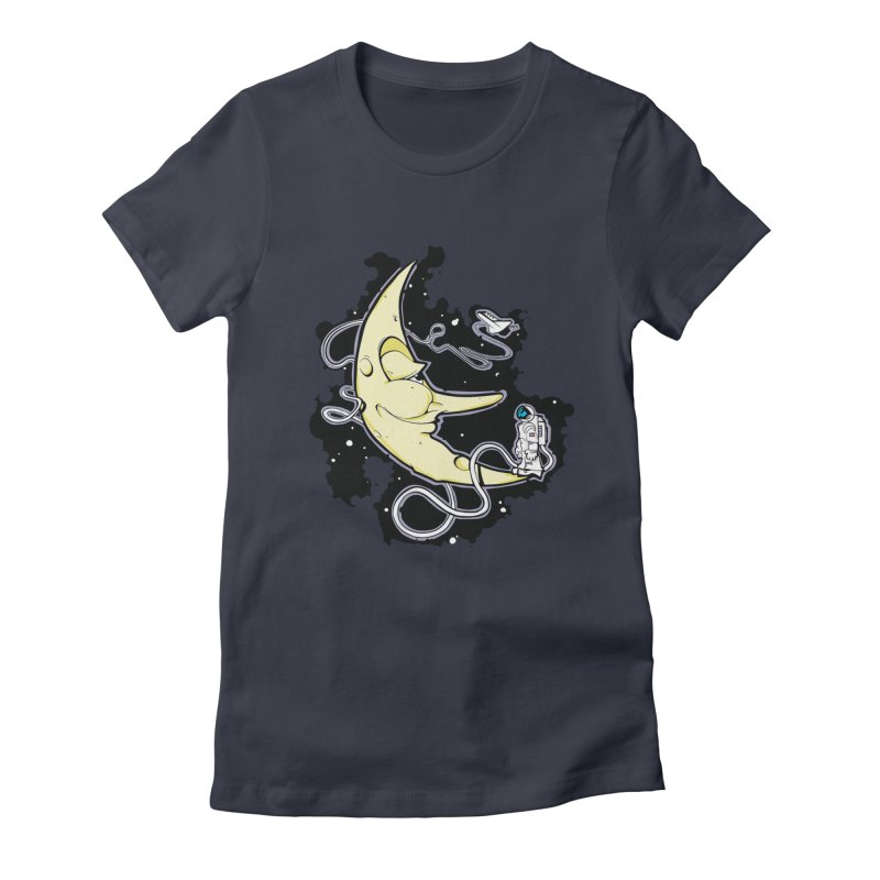 Fly me to tee moon Women's Fitted T-Shirt by bluesdog's Shop