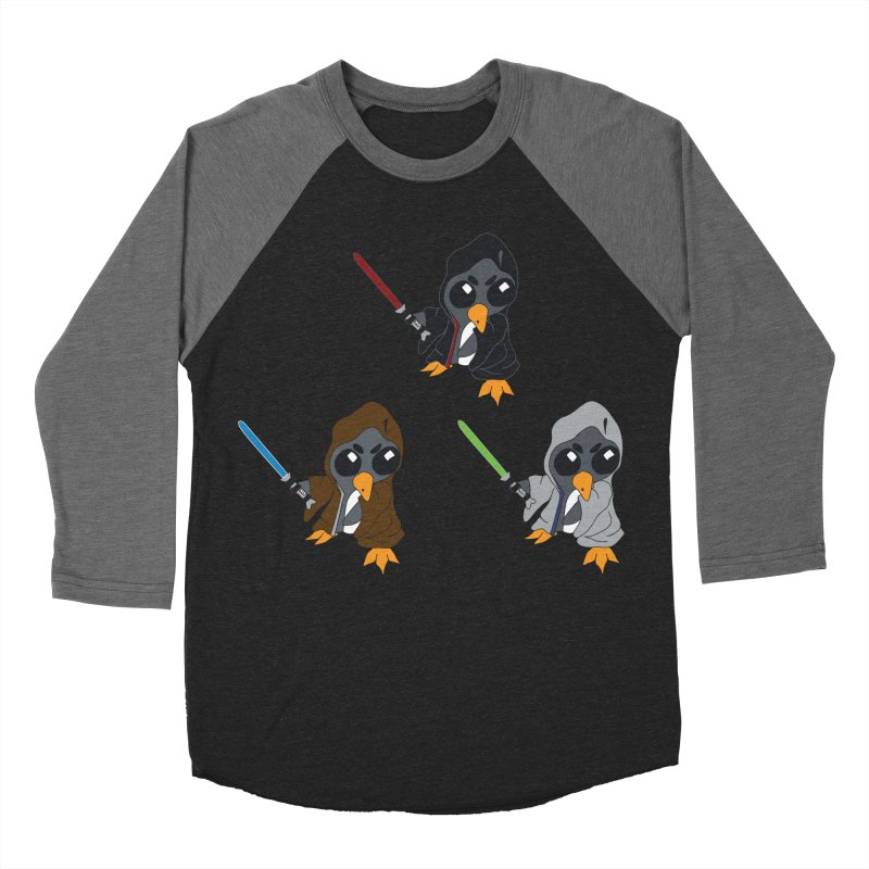 Penguin Triple Force in Men's Baseball Triblend Longsleeve T-Shirt Grey Triblend Sleeves by bluetea1400's Artist Shop