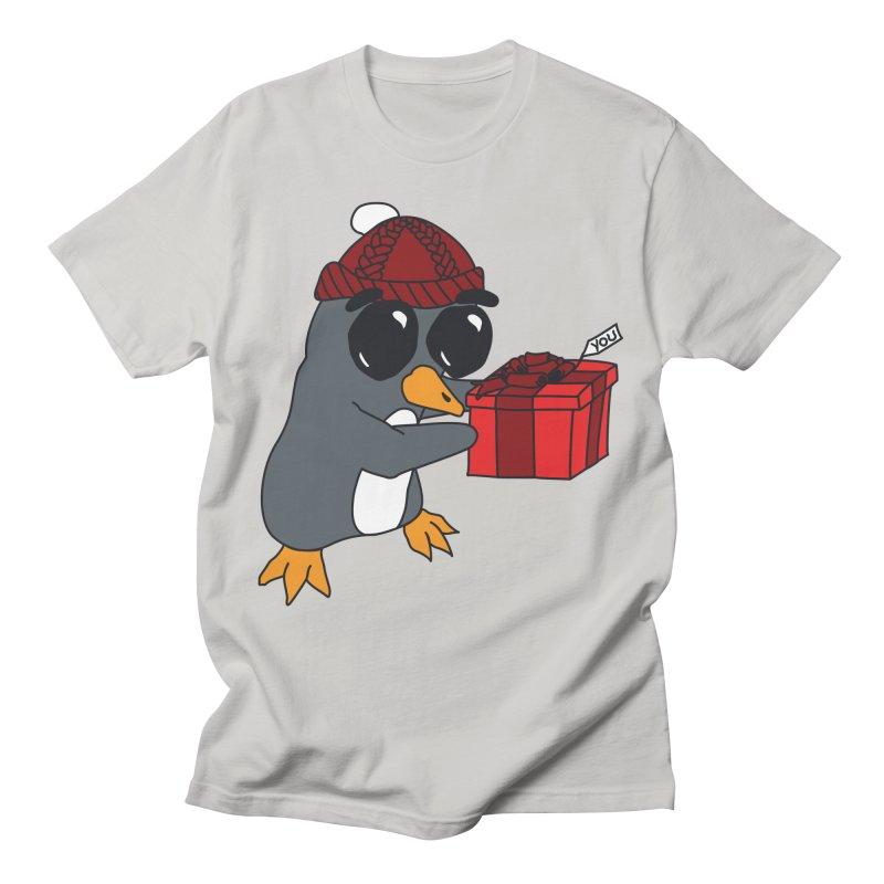 Penguin w/ present 4 U Men's T-Shirt by bluetea1400's Artist Shop