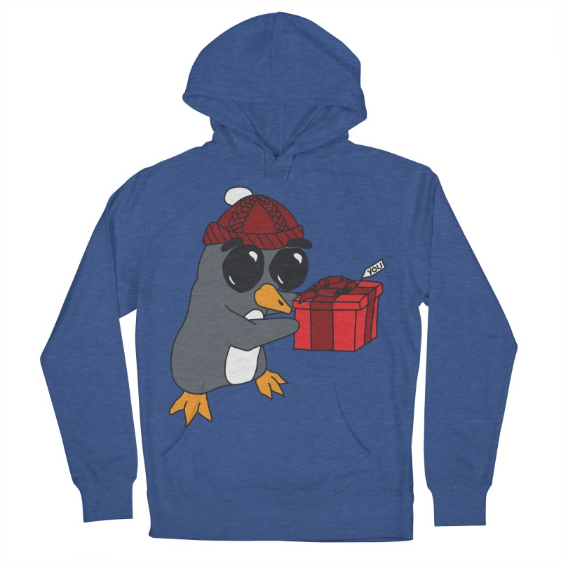 Penguin w/ present 4 U Men's French Terry Pullover Hoody by bluetea1400's Artist Shop