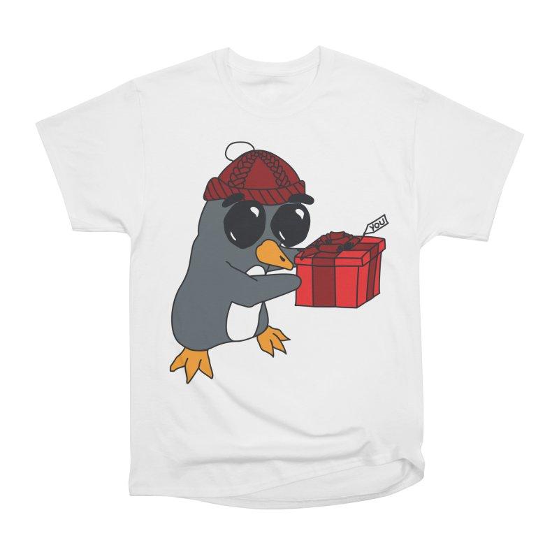 Penguin w/ present 4 U Men's Heavyweight T-Shirt by bluetea1400's Artist Shop